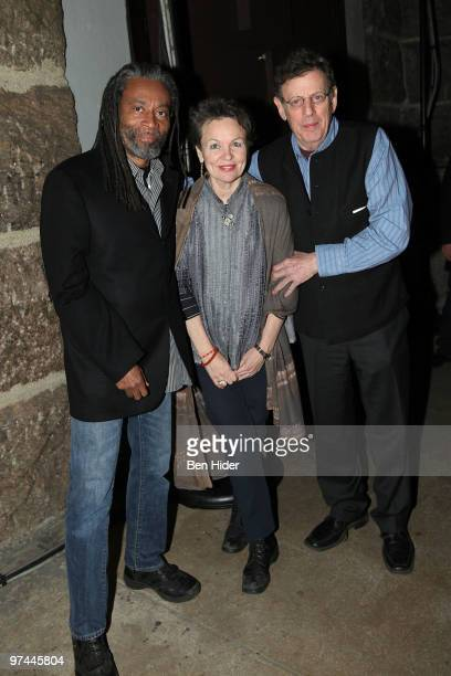 Musicians Bobby McFerrin Laurie Anderson and Philip Glass attend Thank You Tibet at the Cathedral of St John the Divine on March 4 2010 in New York...