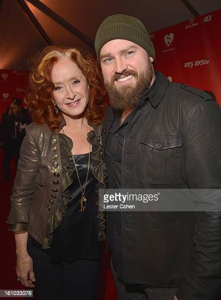 Musicians Bonnie Raitt and Zac Brown attend MusiCares Person Of The Year Honoring Bruce Springsteen at Los Angeles Convention Center on February 8...