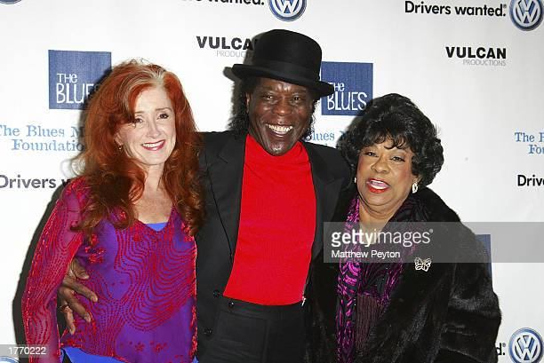 Musicians Bonnie Raitt Buddy Guy and Ruth Brown attend the Salute to the Blues Concert at Radio City Music Hall February 7 2003 in New York City New...