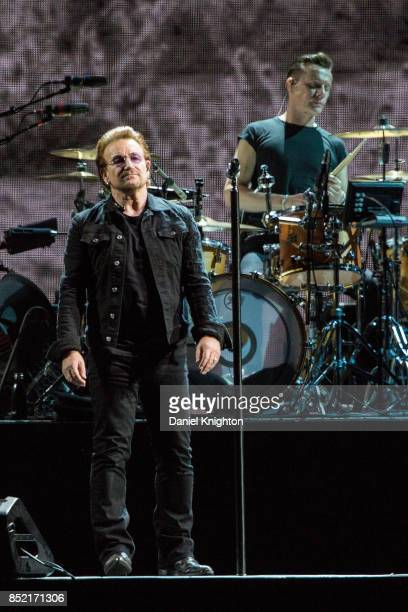 Musicians Bono and Larry Mullen Jr of U2 perform on stage on the final night of U2 The Joshua Tree Tour 2017 at SDCCU Stadium on September 22 2017 in...