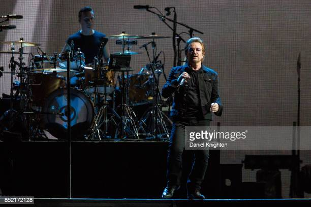 Musicians Bono and Larry Mullen Jr perform on stage on the final night of U2 The Joshua Tree Tour 2017 at SDCCU Stadium on September 22 2017 in San...