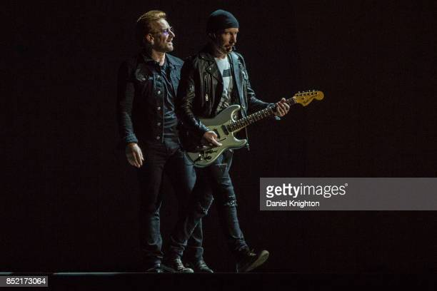 Musicians Bono and The Edge of U2 perform on stage on the final night of U2 The Joshua Tree Tour 2017 at SDCCU Stadium on September 22 2017 in San...