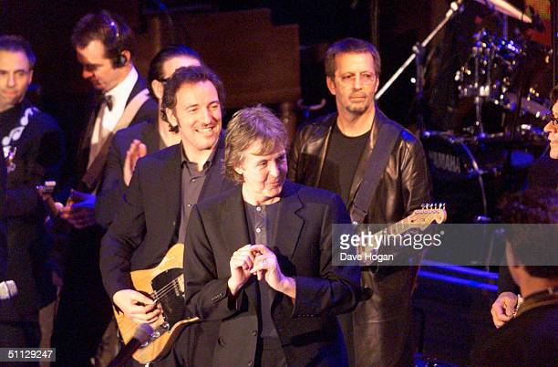 Musician's Bono, Bruce Springsteen, Paul McCartney and Eric Clapton performe at the Rock and Roll Hall of Fame in New York.