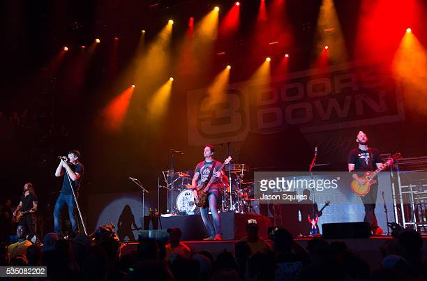 Musicians Brad Arnold Chet Roberts Chris Henderson Justin Biltonen and Greg Upchurch of 3 Doors Down performs at Catch The Fever Festival Grounds on...
