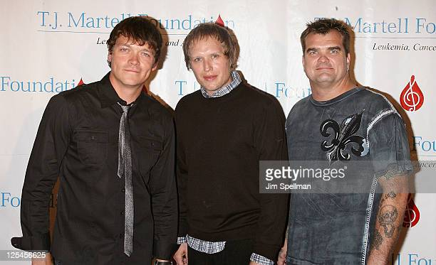 Musicians Brad Arnold Matt Roberts and Chris Henderson of 3 Doors Down attends the TJ Martell Foundation 35th Annual Awards Gala at Marriot Marquis...