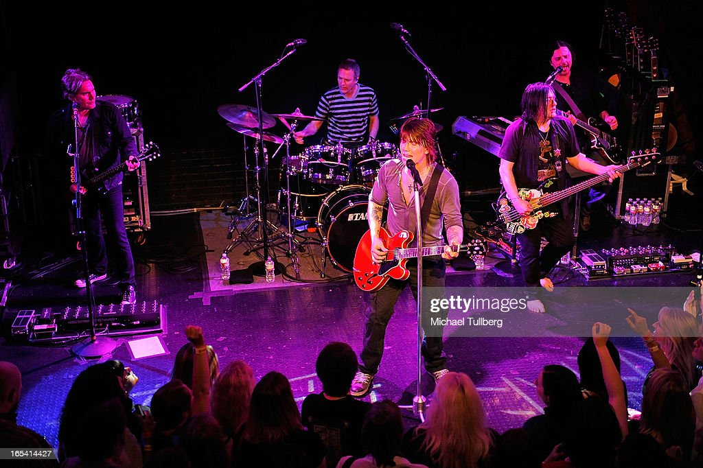 Musicians Brad Fernquist, Mike Malinin, John Rzeznik, Robby Takac and Korel Tunador of the Goo Goo Dolls perform live at Troubadour on April 3, 2013 in West Hollywood, California.