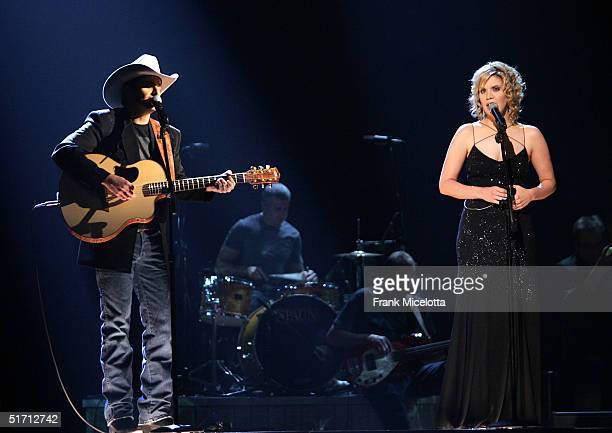 Musicians Brad Paisley and Alison Krauss perform on stage at the 38th Annual CMA Awards at the Grand Ole Opry House November 9 2004 in Nashville...