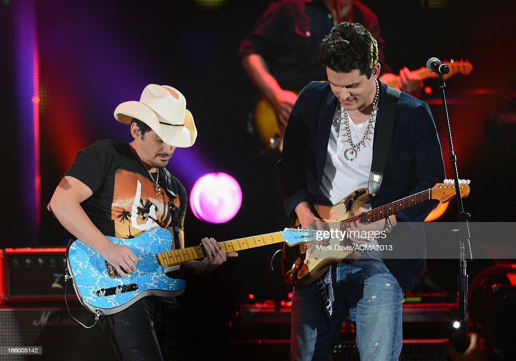 Musicians Brad Paisley and John Mayer perform onstage during the 48th Annual Academy Of Country Music Awards - ACM Fan Jam at Orelans Arena on April 7, 2013 in Las Vegas, Nevada.