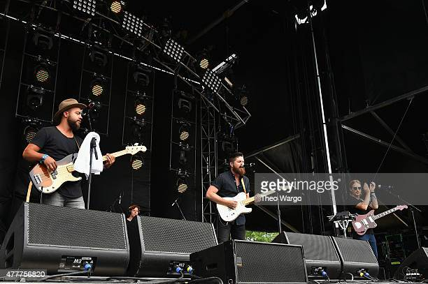 Musicians Brad Pierce, Cobo Copeland, Boots Copeland, and Drew Buffington of Knox Hamilton perform onstage during day 2 of the Firefly Music Festival...