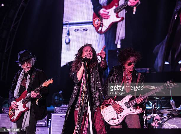 Musicians Brad Whitford Steven Tyler and Joe Perry of Aerosmith perform on the Sunset Cliffs Stage during the 2016 KAABOO Del Mar at the Del Mar...