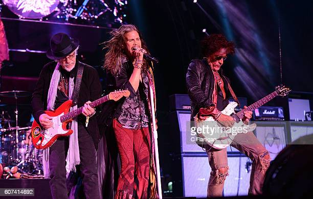 Musicians Brad Whitford Steven Tyler and Joe Perry of the band Aerosmith perform on the Sunset Cliffs stage during KAABOO Del Mar at the Del Mar...