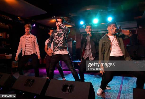 Musicians Brady Tutton Chance Perez Michael Conor Drew Ramos and Sergio Calderon of In Real Life perform on February 7 2018 in Los Angeles California