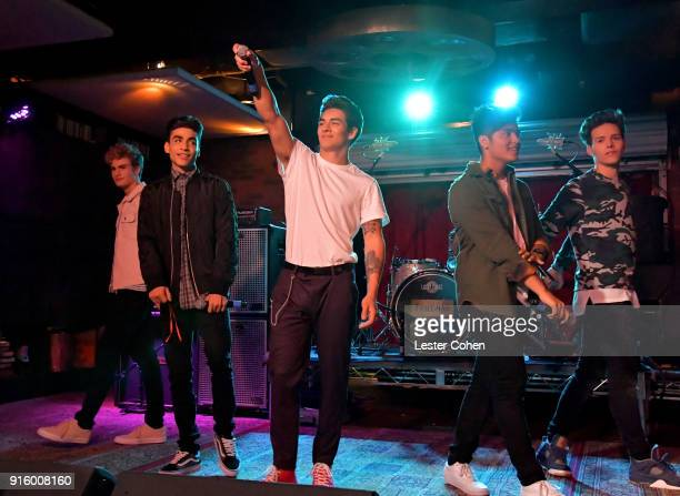 Musicians Brady Tutton Drew Ramos Chance Perez Sergio Calderon and Michael Conor of In Real Life perform on February 7 2018 in Los Angeles California