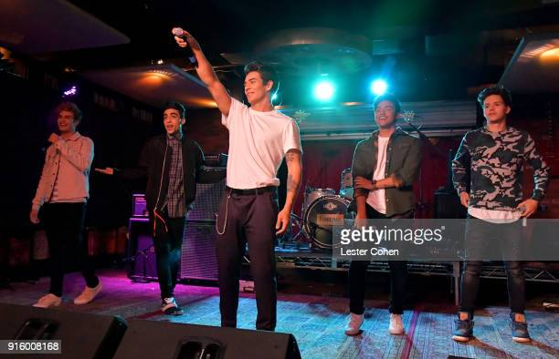 Musicians Brady Tutton Drew Ramos Chance Perez Sergio Calderon and Michael Conorof In Real Life perform on February 7 2018 in Los Angeles California