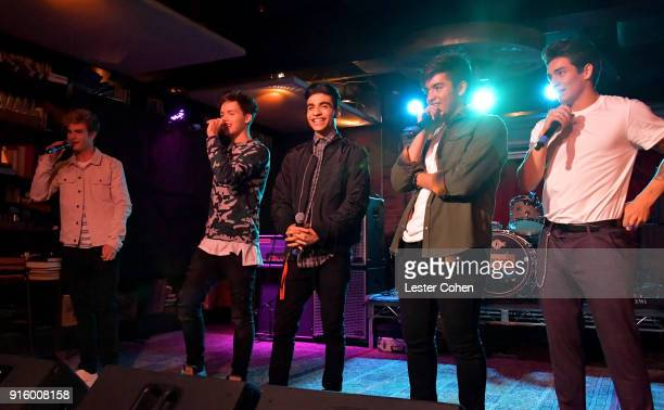 Musicians Brady Tutton Michael Conor Drew Ramos Sergio Calderon and Chance Perez of In Real Life perform on February 7 2018 in Los Angeles California