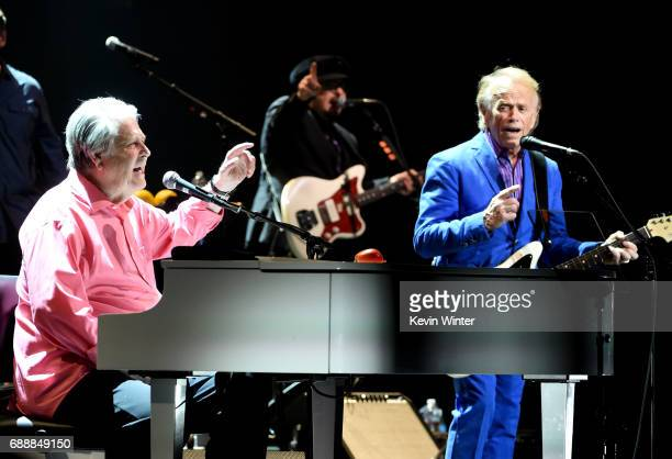 Musicians Brain Wilson and Al Jardine perform Pet Sounds at the Pantages Theatre on May 26 2017 in Los Angeles California