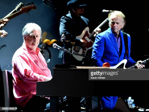 Musicians Brain Wilson and Al Jardine perform Pet Sounds at the Pantages Theatre on May 26, 2017 in Los Angeles, California.