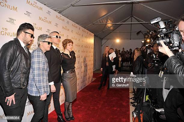 Musicians Branden Campbell Chris Allen Tyler Glenn and Elaine Bradley of the pop band Neon Trees attend the debut of Karl Lagerfeld Rachel Bilson's...