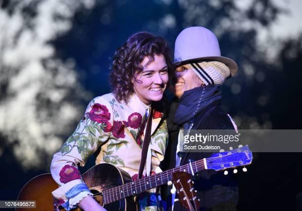 Musicians Brandi Carlile and Linda Perry attend the One Love Malibu Festival at King Gillette Ranch on December 02, 2018 in Malibu, California.