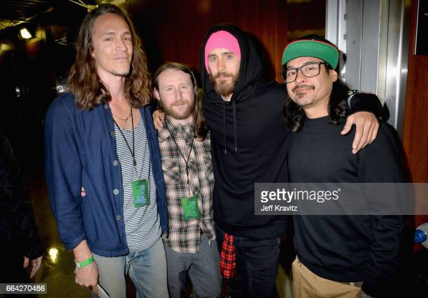 Musicians Brandon Boyd Mike Einziger and Jose Pasillas of Incubus and actor Jared Leto attend WELCOME Fundraising Concert Benefiting The ACLU...