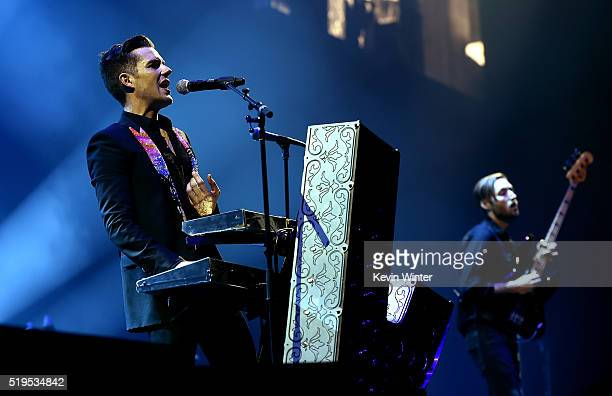 Musicians Brandon Flowers and Mark Stoermer of The Killers perform onstage during the grand opening of TMobile Arena on April 6 2016 in Las Vegas...