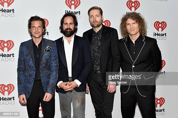 Musicians Brandon Flowers Ronnie Vannucci Jr Mark Stoermer and Dave Keuning of The Killers attend the 2015 iHeartRadio Music Festival at MGM Grand...