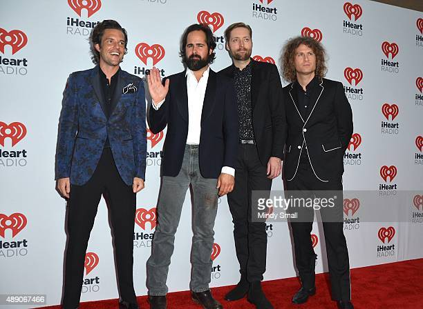 Musicians Brandon Flowers Ronnie Vannucci Jr Mark Stoermer and Dave Keuning of The Killers arrive at the 2015 iHeartRadio Music Festival Night 1 on...