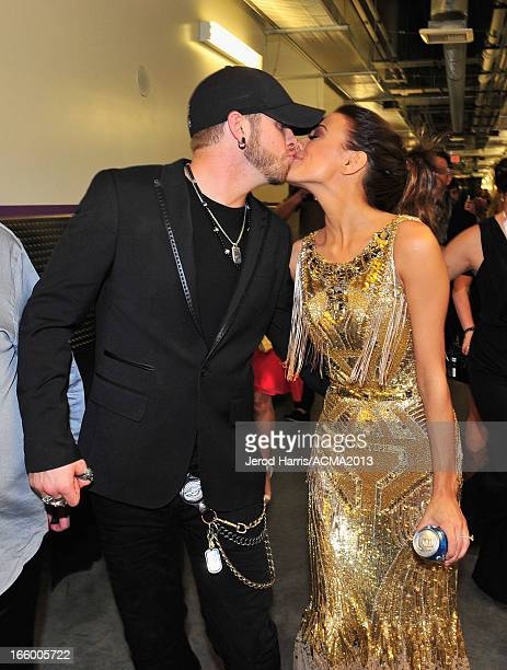 Musicians Brantley Gilbert and Jana Kramer backstage during the 48th Annual Academy Of Country Music Awards ACM Fan Jam at Orelans Arena on April 7...