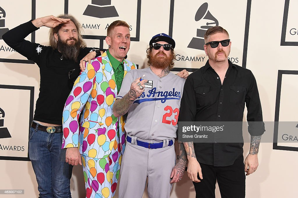 Musicians Brent Hinds, Brann Dailor, Troy Sanders and Bill Kelliher of Mastodon attend The 57th Annual GRAMMY Awards at the STAPLES Center on February 8, 2015 in Los Angeles, California.