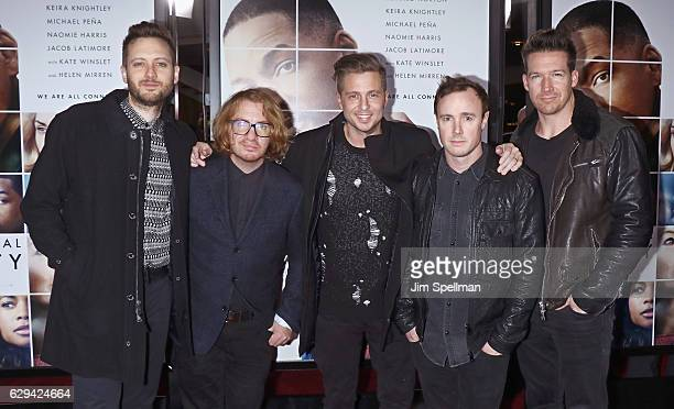 Musicians Brent Kutzle Drew Brown Ryan Tedder Eddie Fisher and Zach Filkins of OneRepublic attend the Collateral Beauty world premiere at Frederick P...