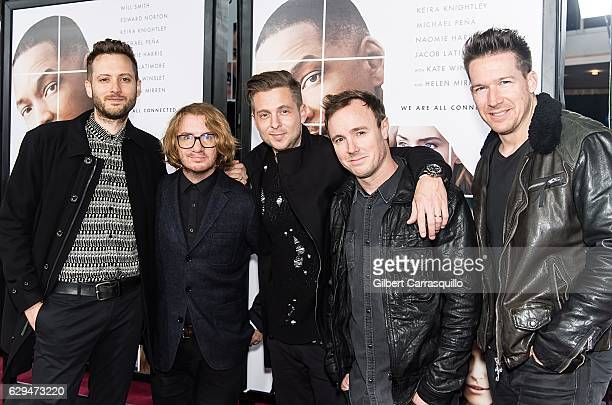 R Musicians Brent Kutzle Drew Brown Ryan Tedder Eddie Fisher and Zach Filkins of OneRepublic attend 'Collateral Beauty' World Premiere at Frederick P...