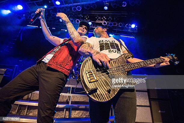 Musicians Brent Smith and Eric Bass of Shinedown perform on stage at House of Blues San Diego on April 17 2016 in San Diego California