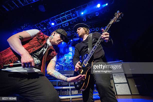Musicians Brent Smith and Zach Myers of Shinedown perform on stage at House of Blues San Diego on April 17 2016 in San Diego California