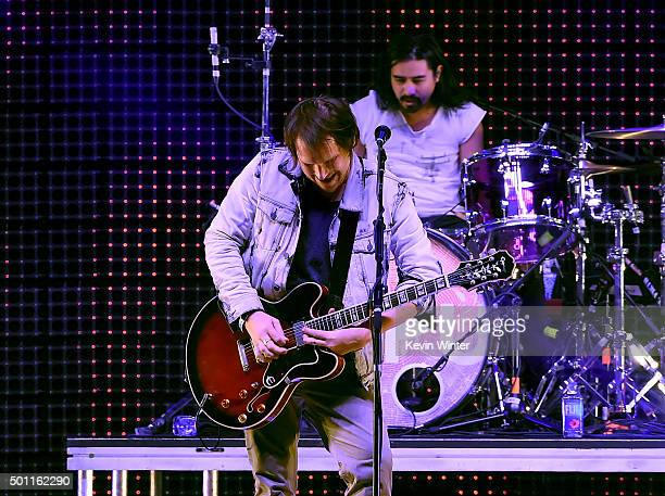 Musicians Brian Aubert and Christopher Guanlao of Silversun Pickups perform onstage during 1067 KROQ Almost Acoustic Christmas 2015 at The Forum on...