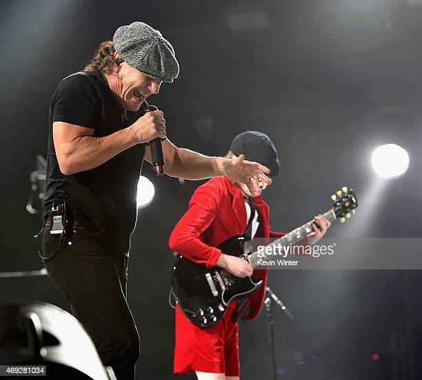 Musicians Brian Johnson and Angus Young of AC/DC perform onstage during day 1 of the 2015 Coachella Valley Music Arts Festival at the Empire Polo...