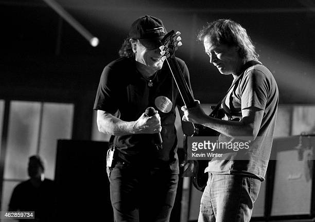 Musicians Brian Johnson and Angus Young of AC/DC rehearse onstage during The 57th Annual GRAMMY Awards at the Staples Center on February 6 2015 in...