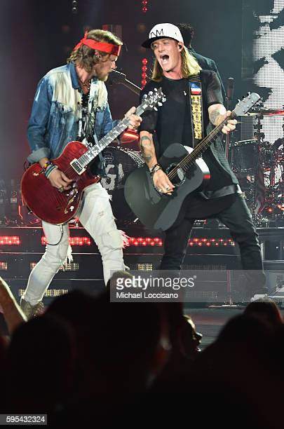 Musicians Brian Kelley and Tyler Hubbard of Florida Georgia Line perform during their Dig Your Roots 2016 tour at The Theater at Madison Square...