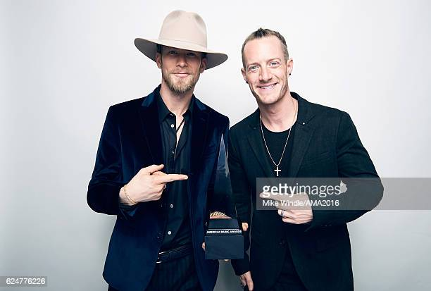 Musicians Brian Kelley and Tyler Hubbard of Florida Georgia Line pose for a portrait during the 2016 American Music Awards at Microsoft Theater on...