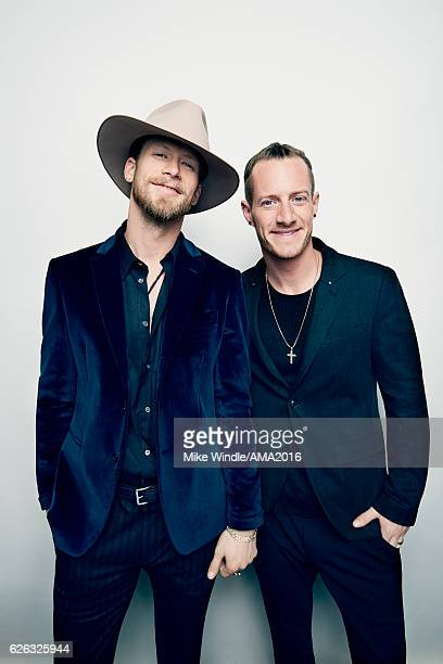 Musicians Brian Kelley and Tyler Hubbard of Florida Georgia Line pose in the press room during the 2016 American Music Awards at Microsoft Theater on...