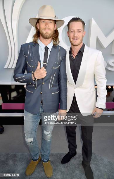 Musicians Brian Kelley and Tyler Hubbard of Florida Georgia Line attend the 52nd Academy Of Country Music Awards at Toshiba Plaza on April 2 2017 in...