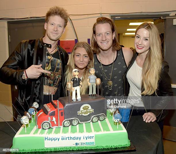 Musicians Brian Kelley and Tyler Hubbard of Florida Georgia Line with Brittney Marie Cole and Hayley Stommel backstage during CBS Radio's The Night...