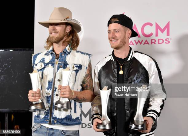 Musicians Brian Kelley and Tyler Hubbard of the music group Florida Georgia Line winners of the award for Vocal Event of the Year and Single Record...