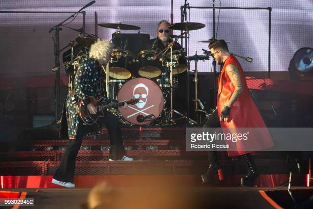 Musicians Brian May and Roger Taylor of Queen and Adam Lambert perform on stage during TRNSMT Festival Day 4 at Glasgow Green on July 6 2018 in...