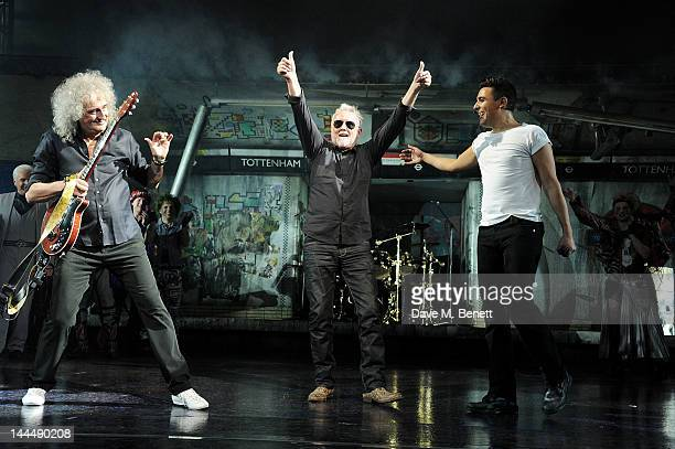 Musicians Brian May and Roger Taylor perform onstage with cast member Noel Sullivan during the We Will Rock You 10 Year Anniversary Celebration...