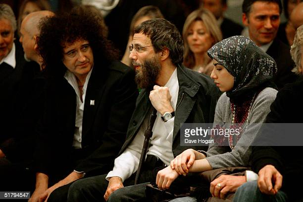 Musicians Brian May and Yusuf Islam and Yusuf's wife Fawzia Ali attend VIP reception launching the December 2 publication of coffee table book 46664...