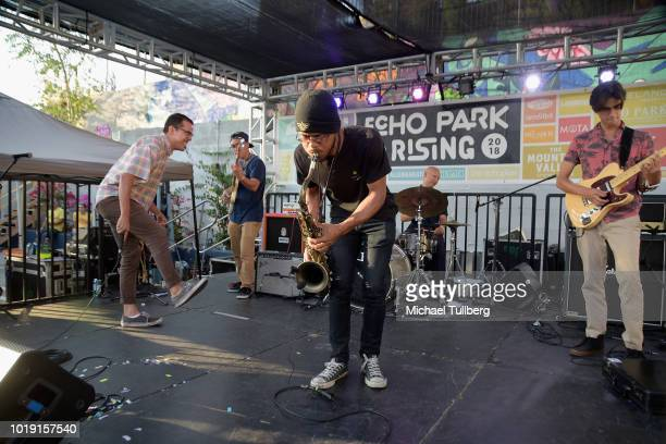 Musicians Brian To Earth Dominic Cruz DeAndre Grover Donovan Cruz and Christopher Trimmer of Apollo Bebop perform during Day Three of Echo Park...