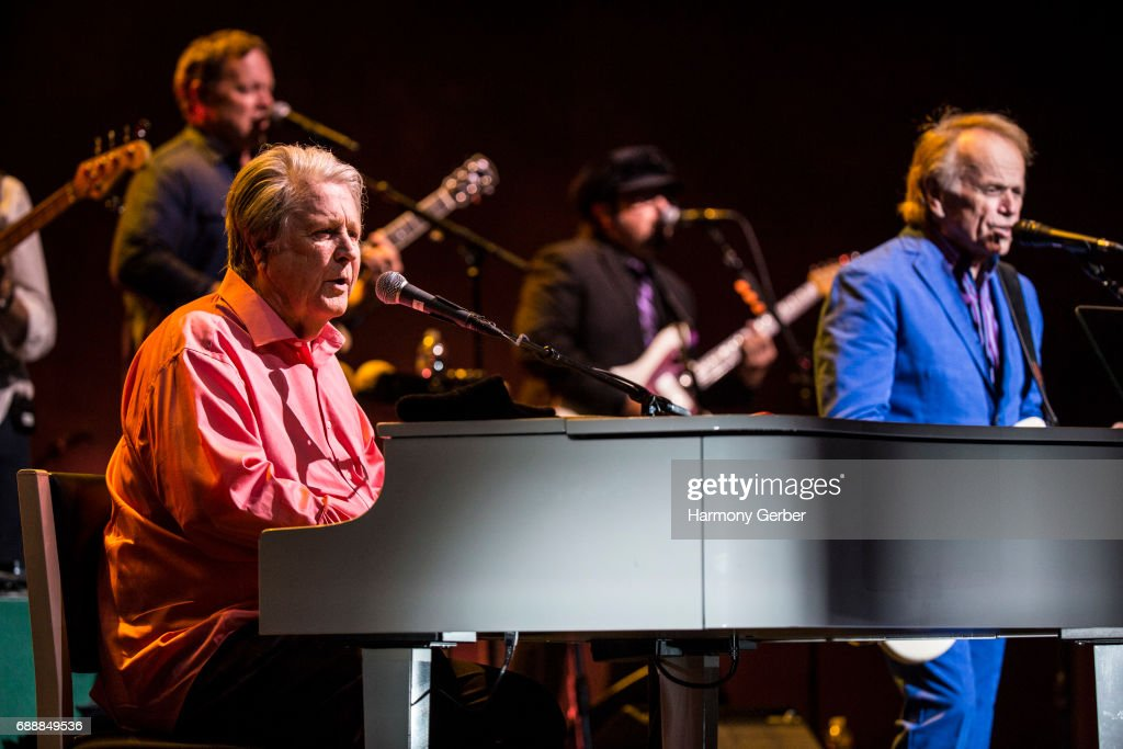 Musicians Brian Wilson and Al Jardine perform at the Pantages Theatre on May 26, 2017 in Hollywood, California.