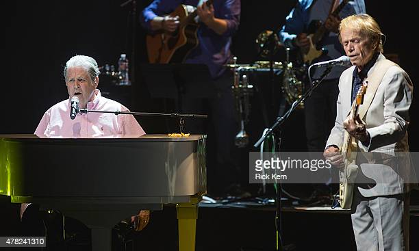 Musicians Brian Wilson and Al Jardine perform in concert at Bass Concert Hall on June 23, 2015 in Austin, Texas.