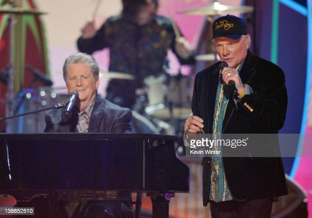 Musicians Brian Wilson and Mike Love of The Beach Boys perform onstage at the 54th Annual GRAMMY Awards held at Staples Center on February 12, 2012...