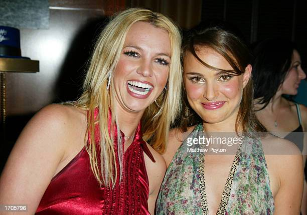 Musicians Britney Spears and Natalie Portman host a New Year's Eve Party at the Hudson Hotel December 31 2002 in New York City New York
